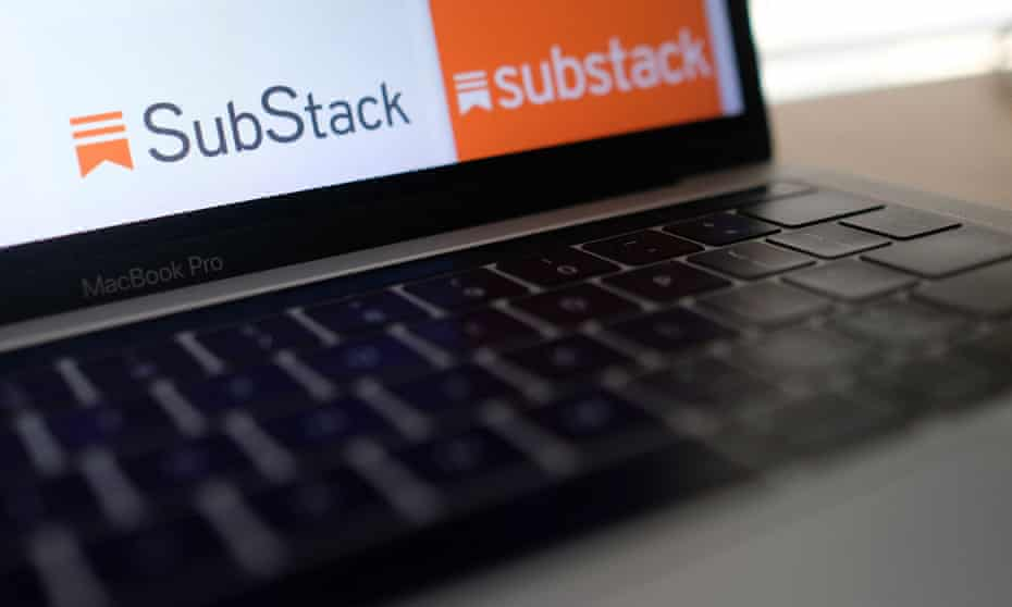 The Substack logo on a laptop screen