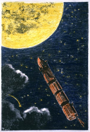 a coloured engraving from a 19th-century edition of Jules Verne's From the Earth to the Moon.