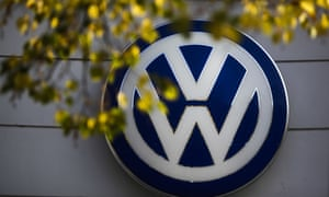 Germany's Volkswagen car company is displayed at the building of a company's retailer in Berlin.