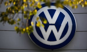 VW sign car company is displayed at the building of a company's retailer in Berlin
