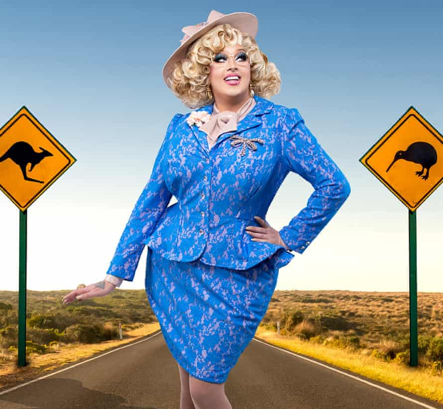 Chadwick as Karen From Finance in a promotional portrait for Drag Race Down Under