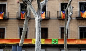 Catalan flags hang from balconies in Barcelona