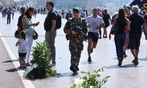 A French soldier on patrol in Nice, France