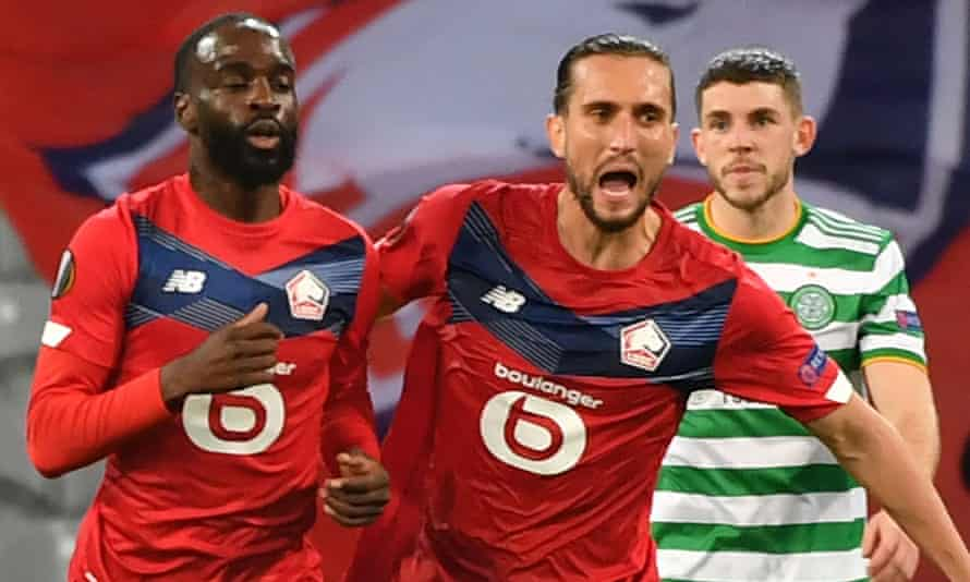 Jonathan Ikoné (left) completed Lille's second-half comeback against Celtic to equalise 15 minutes from time.