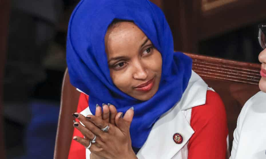 Ilhan Omar, listens to Donald Trump's State of the Union speech.