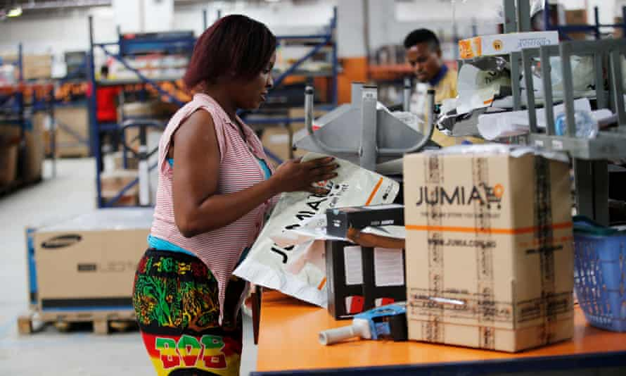An employee in the packaging unit at a Jumia warehouse in Lagos