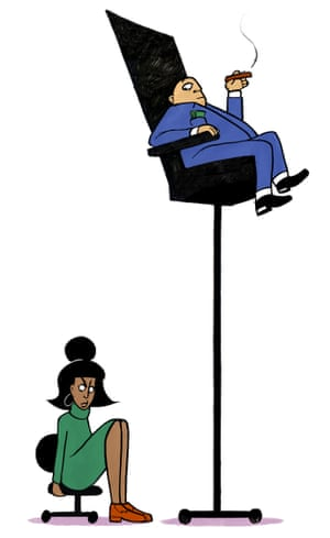 Illustration of man on high chair and woman on low chair