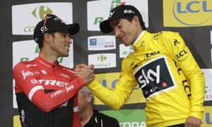 Sergio Henao (right) is congratulated by Alberto Contador (left) after his narrow Paris-Nice victory.