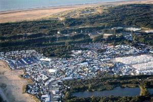 An aerial view of the Calais refugee camp