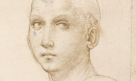 Detail from Studies of Heads and Hands, and Sketches after Leonardo, c1505–07, from Raphael: The Drawings, at the Ashmolean in Oxford.