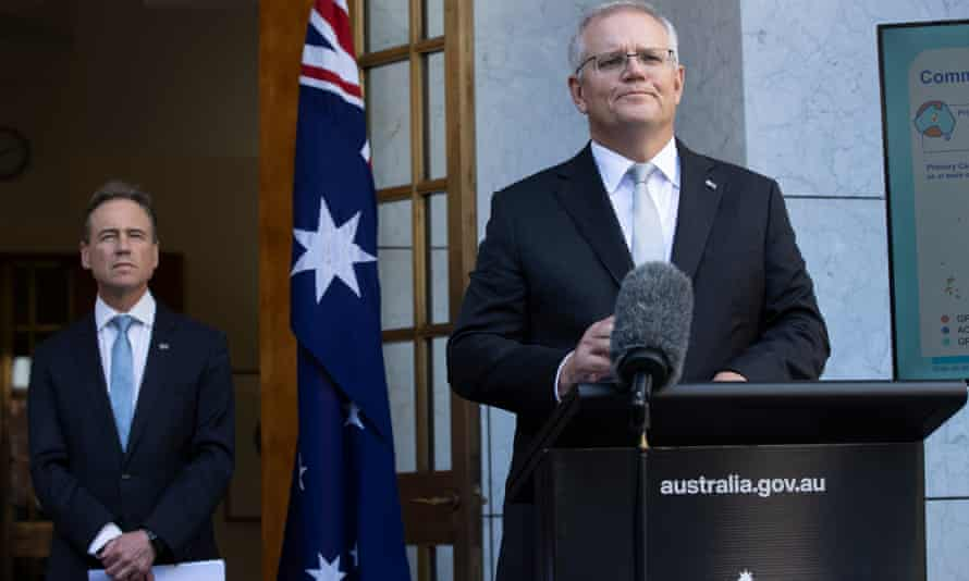 The health minister Greg Hunt and the prime minister Scott Morrison during a press conference about Australia's vaccine plan in April