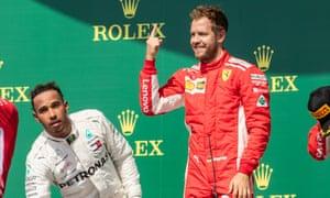 Lewis Hamilton and Kimi Räikkönen on the podium at Silverstone.