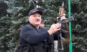 Alexander Lukashenko armed with a rifle in Minsk.