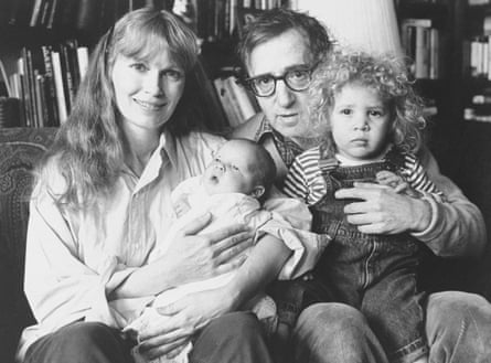 Ronan Farrow as a baby with his parents Mia Farrow and Woody Allen, and his sister Dylan