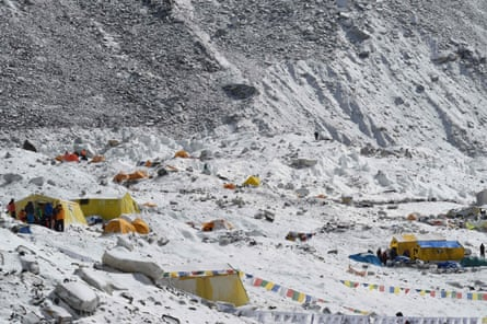 Rubbish litters the Everest base camp a day after a quake-triggered avalanche.