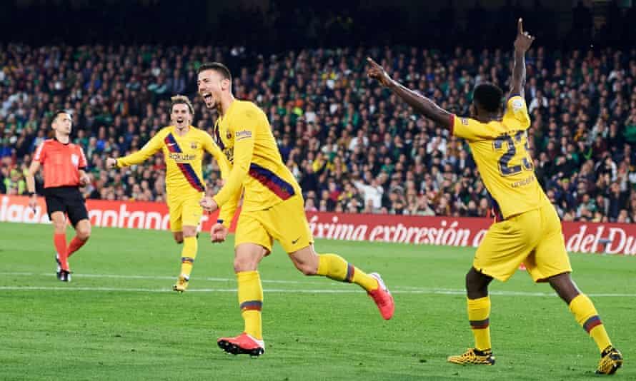 Clement Lenglet celebrates scoring Barcelona's winner.