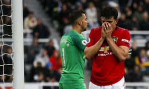 Newcastle United v Manchester United - Premier League<br>NEWCASTLE UPON TYNE, ENGLAND - OCTOBER 06: Harry Maguire of Manchester United looks dejected after a missed chance during the Premier League match between Newcastle United and Manchester United at St. James Park on October 6, 2019 in Newcastle upon Tyne, United Kingdom. (Photo by Daniel Chesterton/Offside/Offside via Getty Images)