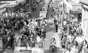 Ali takes part in the South Shields carnival in July 1977 on a visit to Tyneside to help raise money for boxing clubs.