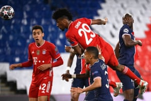Bayern Munich's Kingsley Coman heads the ball.