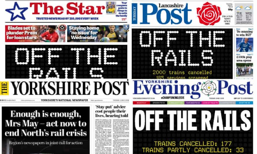 Composite of Yorkshire newspapers protesting transport shambles regarding the new rail time tables