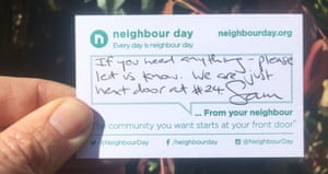 A filled out card from Neighbour Day