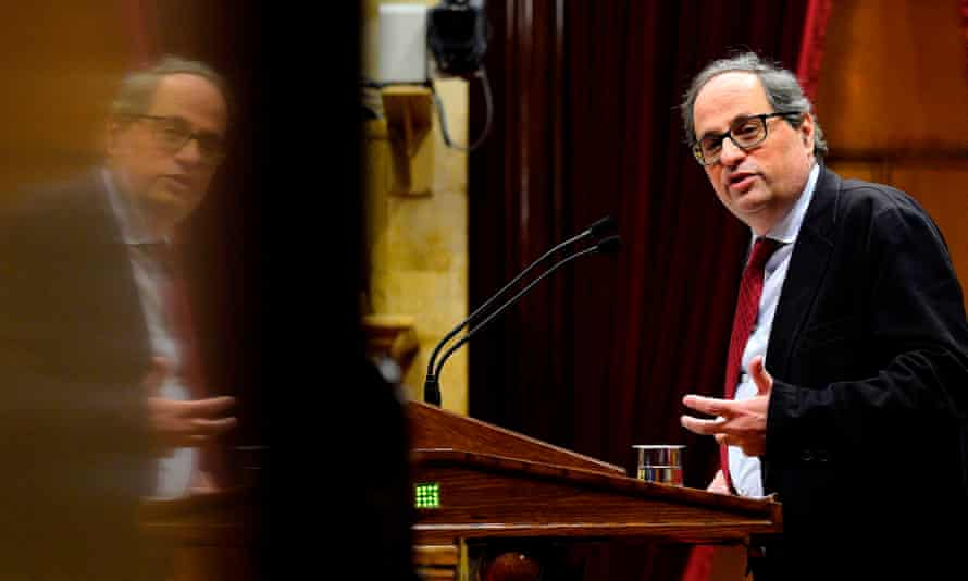 Quim Torra delivers a speech during a parliament session in Barcelona.