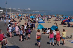 Crowds at Poole in Dorset on Sunday.