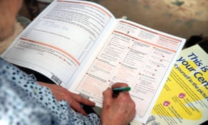 Woman filling in 2001 census