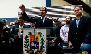 """Venezuelan opposition leader and Juan Guaidó giving details of what he calls """"Operation Freedom"""" during a rally with local and regional leaders, in Caracas on 27 March 2019."""