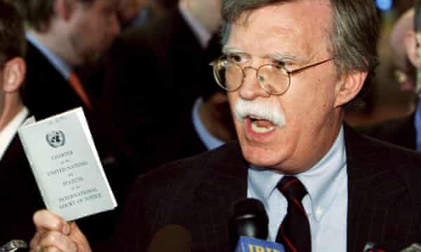 John Bolton in typically pugnacious mood, inveighing against Iran while US ambassador to the United Nations in 2006.