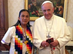 Pope Francis with Milagro Sala.