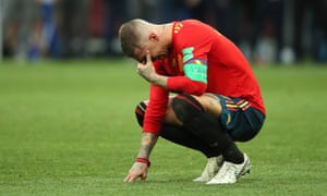 Spain captain Sergio Ramos looks upset after his side are knocked out of the World Cup.