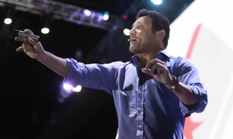 Jordan Belfort hosts business conference in Mexico City in May 2017.