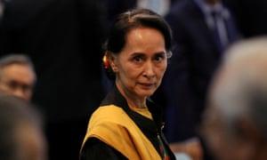 De facto Myanmar leader Aung San Suu Kyi, who has not condemned the sentencing.