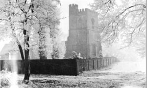 St Mary's Church, Old Linslade, Bedfordshire, a picture taken in about 1890 showing the hoarfrost.