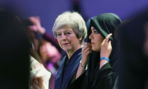 Theresa May at the Global Women's Forum in Dubai, February 2020.