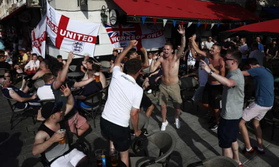 England fans chant as they drink in a Marseille bar before the Russia game at Euro 2016, soon after which a violent clashes broke out in the Old Port part of the city