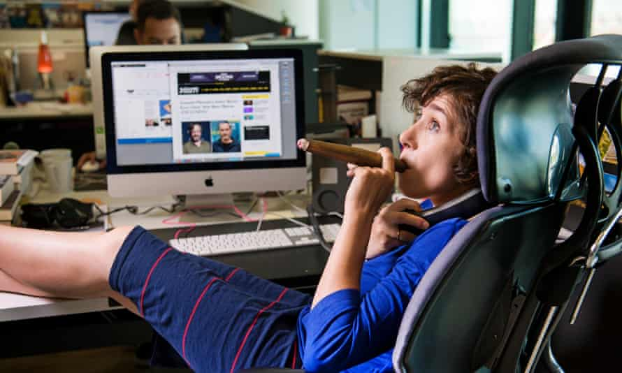 Catherine Shoard hard at work in the Guardian office.