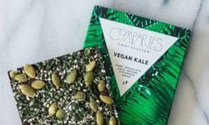 Compartes vegan kale chocolate bar.