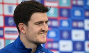 Harry Maguire gives a press conference at St George's Park in Burton-on-Trent.