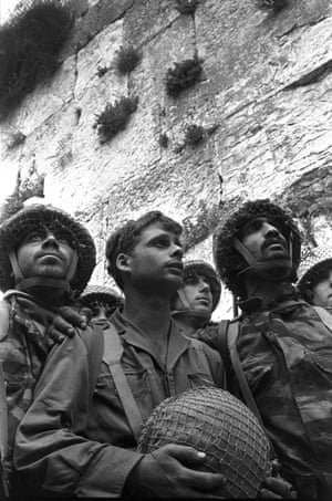 Israeli paratroopers minutes after taking the Western Wall on 7 June 1967 during the six-day war.