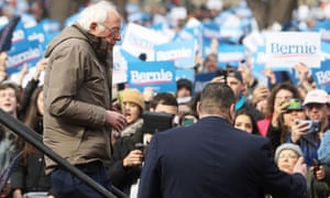 Bernie Sanders leaves the stage after delivering a speech during his rally in Boston, Massachusetts.