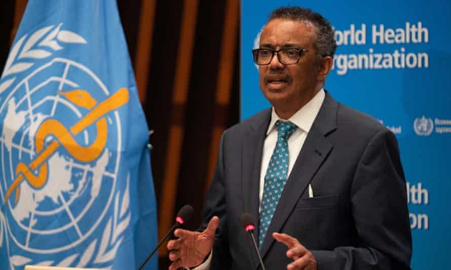 WHO director general Tedros Adhanom Ghebreyesus at the WHO headquarters in Geneva, Switzerland.