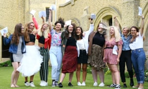 Students from Roedean school in Brighton celebrate their A-level results