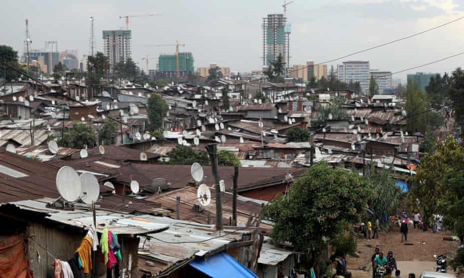 Corrugated-iron huts on the outskirts, Addis Ababa, Ethiopia