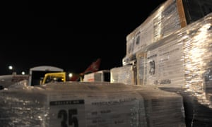 Ballot papers for the rerun presidential election arrive at the Jomo Kenyatta international airport.