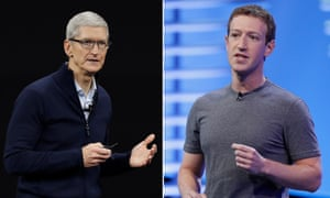 Apple CEO Tim Cook and Facebook founder Mark Zuckerberg.