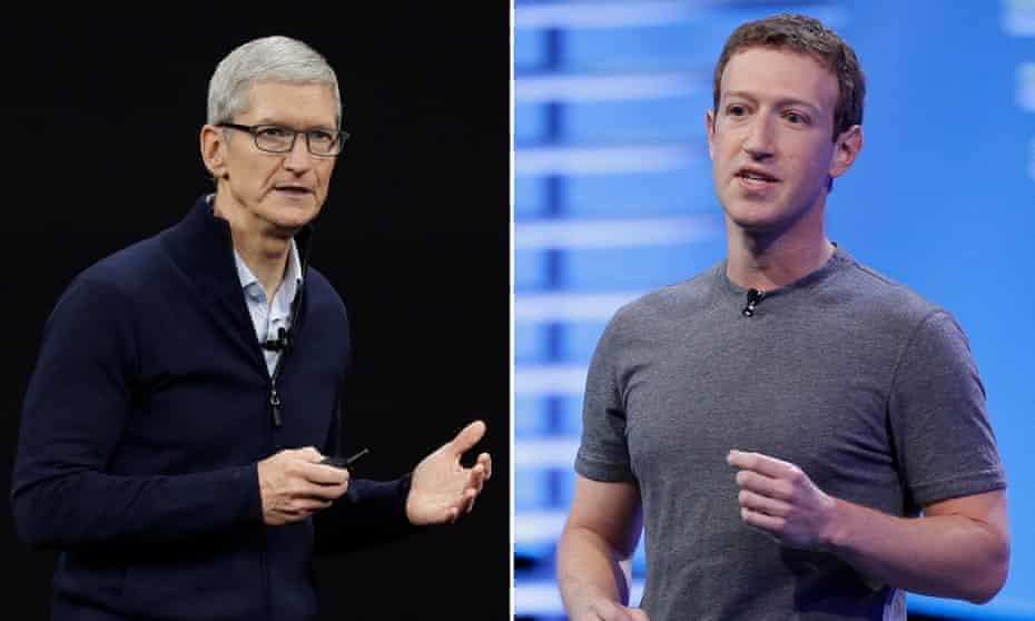 Apple CEO Tim Cook and Facebook founder Mark Zuckerberg.
