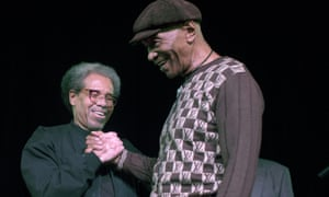 Albert Woodfox is greeted by Robert King during Woodfox's first post-release appearance in New Orleans, February 2016.