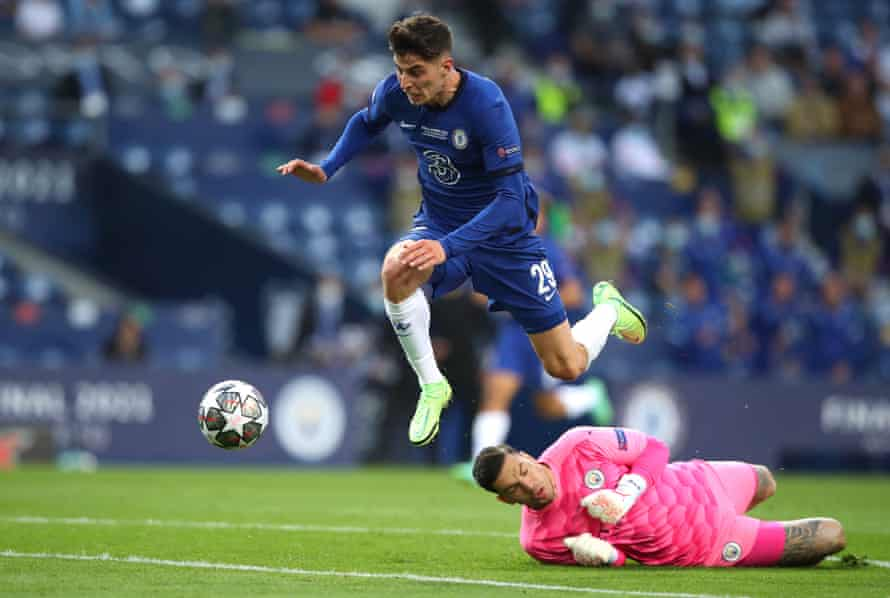 Kai Havertz fights to keep his balance after beating Ederson to the ball on the way to scoring the only goal of the Champions League final.